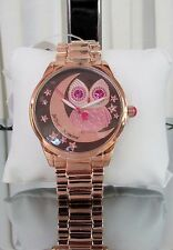 Betsey Johnson Rose Gold Owl Moon Crystal Bracelet Watch BJ00495-12 NWT