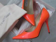 Jimmy Choo AUTH NIB 100MM Abel Pointed Toe Pump 38 Neon Flame Patent