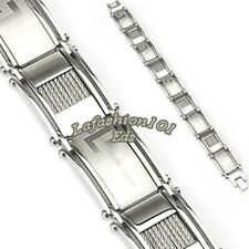 Mens 316 Stainless Steel Link Bracelet Wirev Cable Inlayed and Tribal Logo
