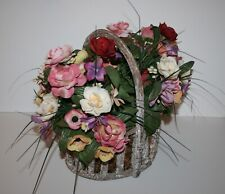 """Artificial  Assorted Silk Flowers in a Rustic Wood Basket 12"""" L x 10""""W x 11""""H"""