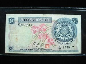 SINGAPORE $1 DOLLAR 1972 ORCHID FLOWER 12# BANK CURRENCY BANKNOTE MONEY