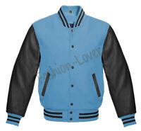 Varsity Bomber Letterman Baseball Sky Blue Wool & Black Leather Sleeves jacket