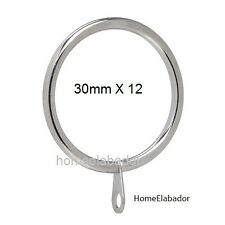 12 X 30mm Strong Metal Curtain Rings Hooks with Eyes SILVER CHROME, UK SELLER