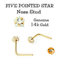 14k Solid Gold CZ Star L- Bend Star Shape Nose Stud Pin 3mm Nose Stud Claw Set