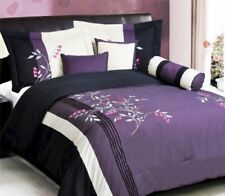 7Pc FULL Oversize Purple White Pink Black Vine Embroidered Comforter Set