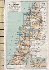 c1936 MAP ~ PALESTINE THE HOLY LAND ~ INSET NILE DELTA PORT SAID