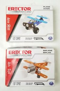 New Meccano Erector 2 Different Engineering Models Plane & Biplane Kits