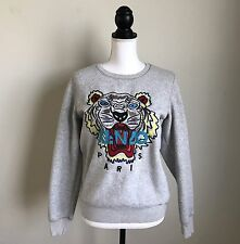 KENZO TIGER SWEATSHIRT SIZE MEDIUM SMALL GRAY 100% AUTHENTIC PULLOVER SWEATER