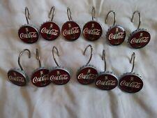 NICE 12 Piece Set of Vintage COCA COLA Shower Curtain Hangers / Hooks