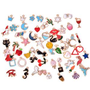30PCS Mix Enamel Animal Moon Star Fruit Charms Pendant DIY Craft Jewelry Mak*ss