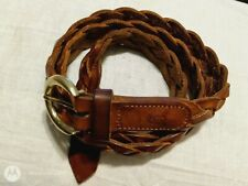 "Christian Dior Belt 36"" Woven Full Grain Leather Braided Brown"