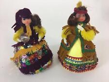 Lil Missy Beaded Doll Vtg Walco Lot 2 Pocahontas 13343 Gypsy 13363 1974 Craft