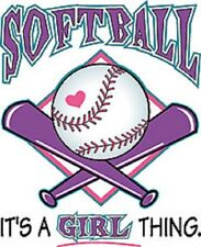 "SOFTBALL ""Its a Girl Thing"".Picture is 11"" x 12"" on 18"" x 22"" White fabric panel"
