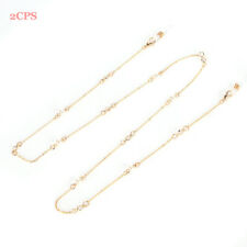 Fashionable Aluminum Glasses Chain - 2 Pieces Of Glass Chain Faux Pearl Women