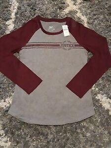 Girls justice baseball colorblock long sleeve size 8 new ruby/grey logo