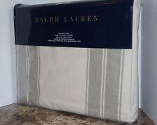 Ralph Lauren FULL FLAT SHEET Amagansett Green Tan Sage Stripe 100% Cotton