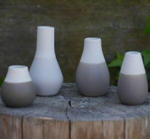 Rader Set 4 MINI VASE Flower Pots WHITE & GREY Ceramic Räder