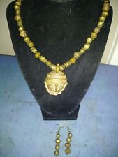 AFRICAN ART ASHANTI SOLID BRASS MASK BICONE BEADS PENDANT BRASS EARRINGS SET