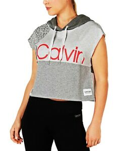 Calvin Klein Performance Womens Colorblocked Sleeveless Cropped Hoodie; Grey (L)