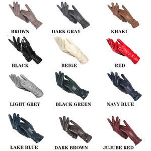 Velvet Lining Leather Gloves 28m Long Winter Sheepskin Fashion Mittens For Women
