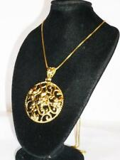 "GOLD ON STERLING SILVER LADIES 23.5"" NECKLACE CHAIN FLOWER PENDANT JEWELERY 925"