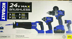 Kobalt KLC 4024A-03 24V Combo 4 Brushless Power Tools with Accessories Brand New