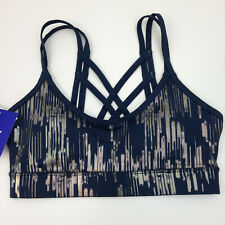 Joy Lab Sports Bra XS Cage Back Blue Gold Shiny Womens Inserts - NEW
