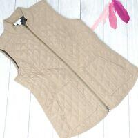 J. JILL HERITAGE I Sz XS I Tan Quilted Zip Front Pockets Vest Women's