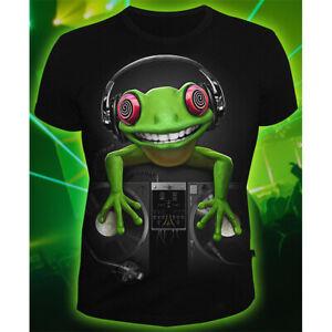 """Herren T-Shirt """"Crazy Frog"""" mit Druck UV aktiv Schwarzlicht Neon"""