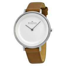 Skagen Ditte Silver Dial Brown Leather Ladies Watch SKW2214