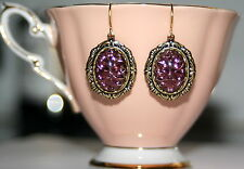 Vintage Amethyst purple reverse patterned glass Victorian set brass earrings
