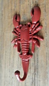 Red Lobster coat hook Cast iron Nautical sea theme Home Garden Shed UK seller