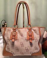 Dooney Bourke Florentine Leather & Jacquard DB Logo Large Tote Handbag Tan Brown