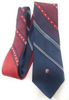 PIERRE CARDIN 100% Silk Neck Tie Mens BLUE RED WHITE Solid and Stripes 60X3.5
