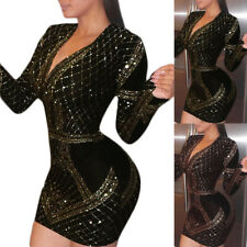 Women Cocktail Party Mini Dress Fashion Sexy V-Neck Long Sleeve Bodycon Dress XL