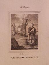 Santo Isidoro agricoltore Giarre Madrid Sivilla Sevilla acquaforte 1840 Spagna
