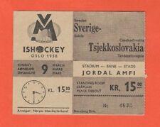 Orig.ticket   Icehockey World Championship NORWAY 1958   SWEDEN - CZECHOSLOVAKIA
