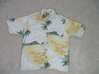 Tommy Bahama Button Up Shirt Adult Large Yelllow Island Silk Camp Casual Mens *