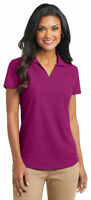 Port Authority Ladies Polyester Short Sleeve V Neck Golf Polo Shirt XS-4XL. L572