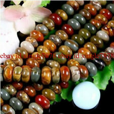 NATURAL 5x8MM MULTI-COLOR PICASSO JASPER GEMSTONE RONDELLE LOOSE BEAD STRAND 15""