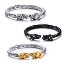 Adjustable Dragon Head Viking Open wire Bracelet Bangle 4 Colours