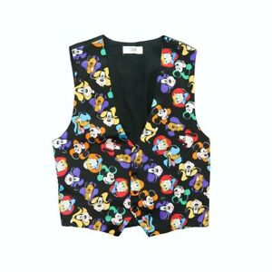 RARE Vintage 90s Mickey Mouse Puffer Sleeveless Vest Jacket  Vtg Mickey Mouse Embroidery Logo Winter Vest jacket full zipper size Medium