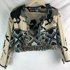 Kokopelli Woven Cotton Jacket Coat M Horse Sweater Finge Conches Western Cowgirl