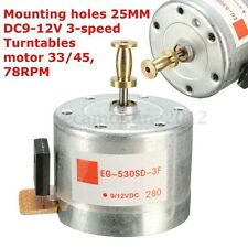 DC9-12V 25MM Mounting Holes Turntables Motor 33/45 78RPM for 3-Speed Turntable