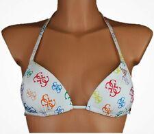 Guess Damen Bikini Oberteil Logo Print Größe S - L Weiß NEU