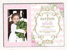 Baptism Invitation Pink Gold Floral Christening Invite 1st Communion Naming Day