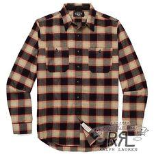 $225 RRL Ralph Lauren 1920s Lightly Washed Plaid Cotton Wool Work Shirt-MEN- M