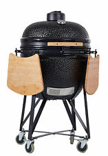 """Ynni 25"""" Black XL Kamado Oven Bbq Barbecue Egg with Tables and Stand tq0025bl'"""