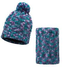 Buff Ski Livy Primaloft Knitted Beanie Bobble Hat + Neckwarmer Turquoise Grey