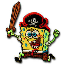Spongebob Patch Iron on Embroidered Applique Sew Kids Cartoon Badge Motif Badge